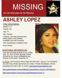Missing Temecula Teen, Ashley Brittany Lopez, vigil May 31, 2014