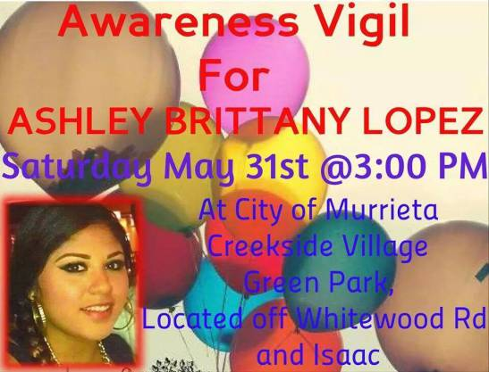 Balloon release vigil May 31, 2014 for Ashley Brittany Lopez