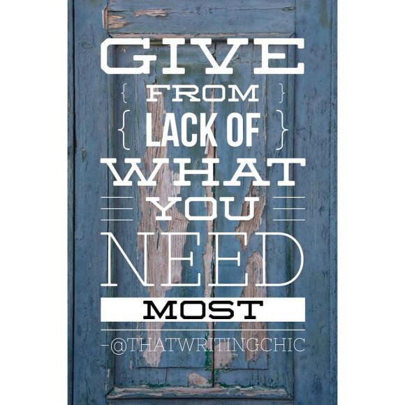 Give From Lack